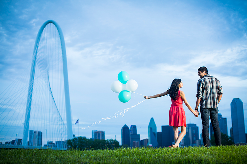 Dallas Skyline Engagement Pic